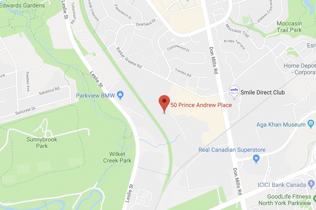 Image of map to Toronto Fencing Club, 50 Prince Andrew Place, North York, ON