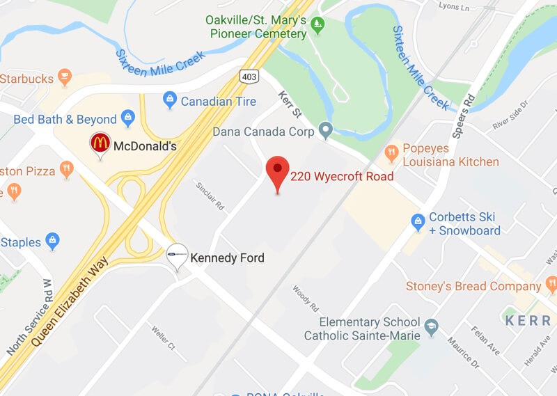 Image of map to Canadian Fencing Academy, 220 Wyecroft Rd, Oakville, Ontario