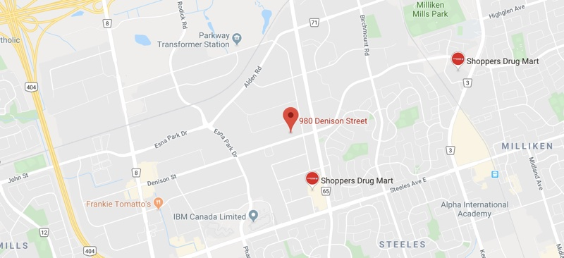 Image of map to Vango Fencing Centre, 980 Denison Street, Markham ON